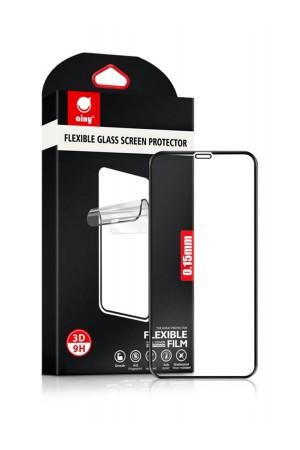 Гибридное защитное стекло 3D Ainy для iPhone 11, черная рамка, полный клей