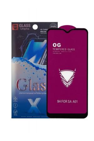 Защитное стекло 5D Glass Unipha для Samsung Galaxy A01, OG series, черная рамка, полный клей