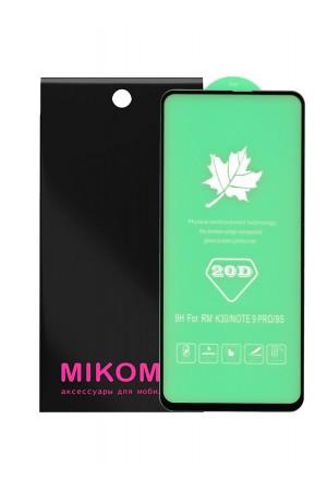 Защитное стекло 20D Mikomo для Xiaomi Redmi Note 9 Pro, черная рамка, полный клей, mk055