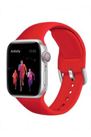 Силиконовый ремешок для Apple Watch 4/5 44 мм, застежка пряжка, красный