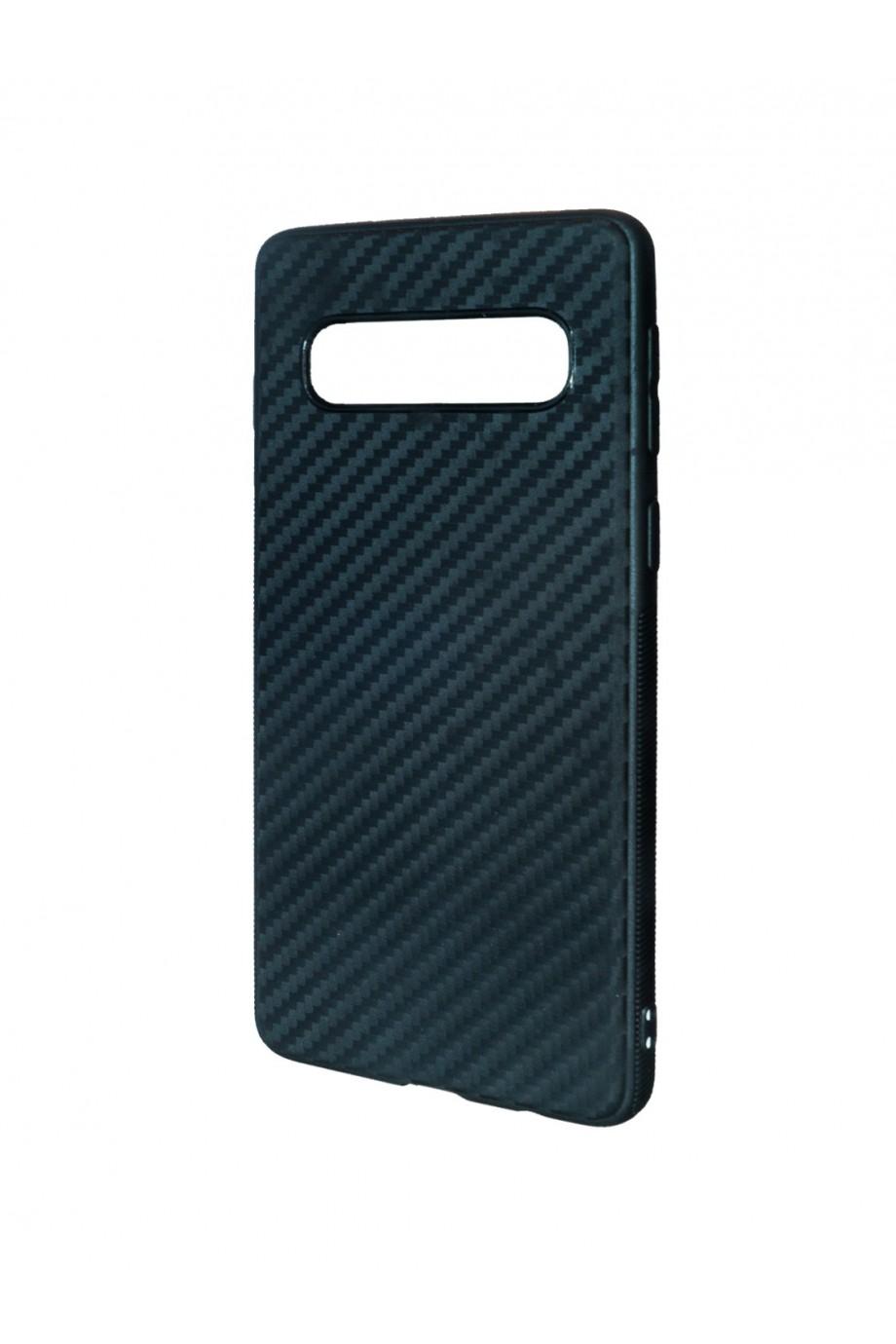 Чехол силиконовый для Samsung Galaxy S10, черный, под карбон