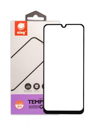 Защитное стекло Ainy для Samsung Galaxy A20, черная рамка, полный клей, mk054