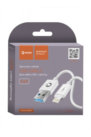 Кабель Dream MS03 USB – Lightning 8 pin, 1.5 м, белый