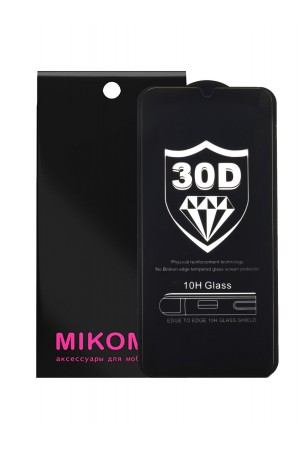 Защитное стекло 30D Mikomo для Samsung Galaxy A30S, черная рамка, полный клей