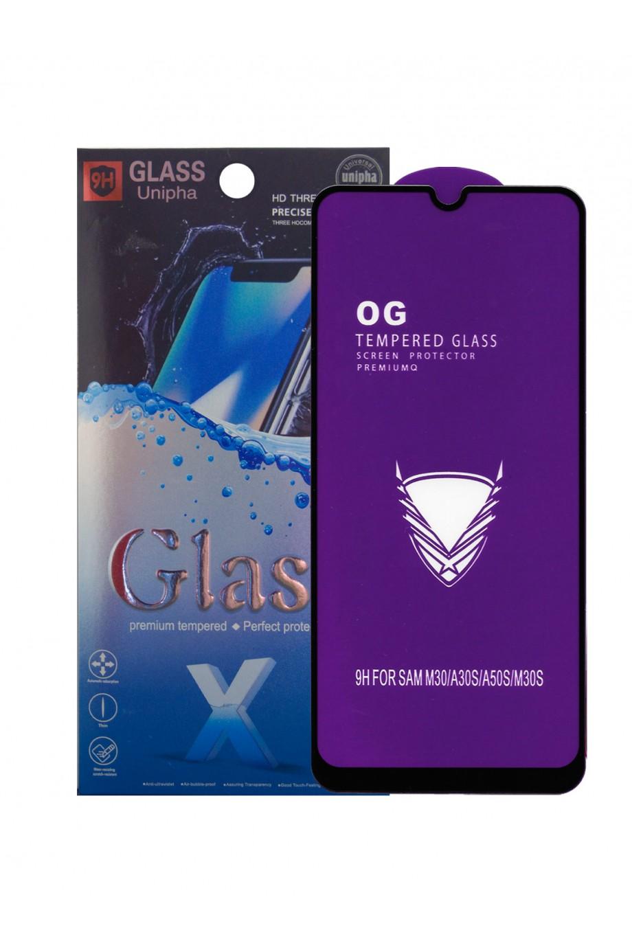 Защитное стекло 5D Glass Unipha для Samsung Galaxy A30, OG series, черная рамка, полный клей, mk064