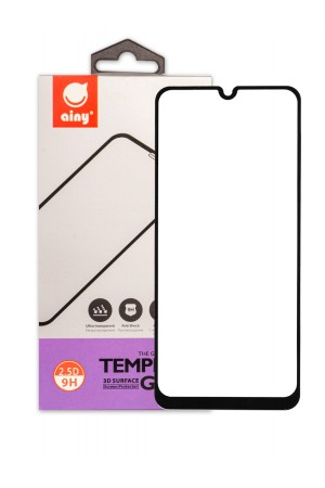 Защитное стекло Ainy для Samsung Galaxy A30, черная рамка, полный клей, mk054