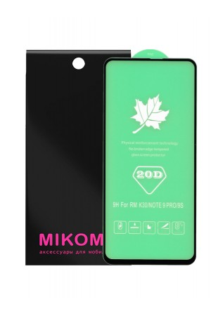 Защитное стекло 20D Mikomo для Xiaomi Redmi Note 9S, черная рамка, полный клей, mk055