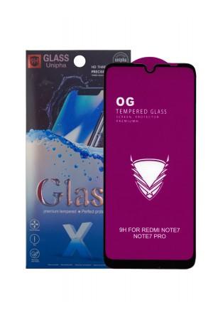 Защитное стекло 5D Glass Unipha для Xiaomi Redmi Note 7 Pro, OG series, черная рамка, полный клей, mk067