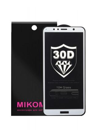 Защитное стекло 30D Mikomo для Honor 7A Pro, белая рамка, полный клей