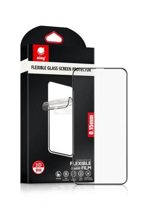 Гибридное защитное стекло 3D Ainy для iPhone XS, черная рамка, полный клей
