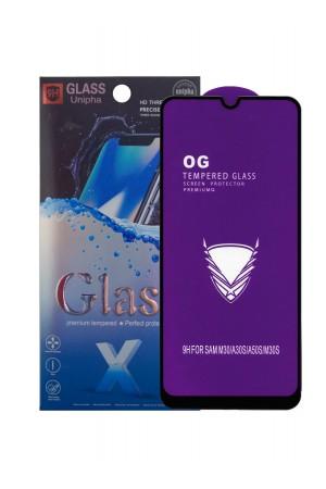 Защитное стекло 5D Glass Unipha для Samsung Galaxy A30S, OG series, черная рамка, полный клей, mk064
