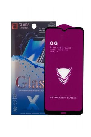 Защитное стекло 5D Glass Unipha для Xiaomi Redmi Note 8T, OG series, черная рамка, полный клей