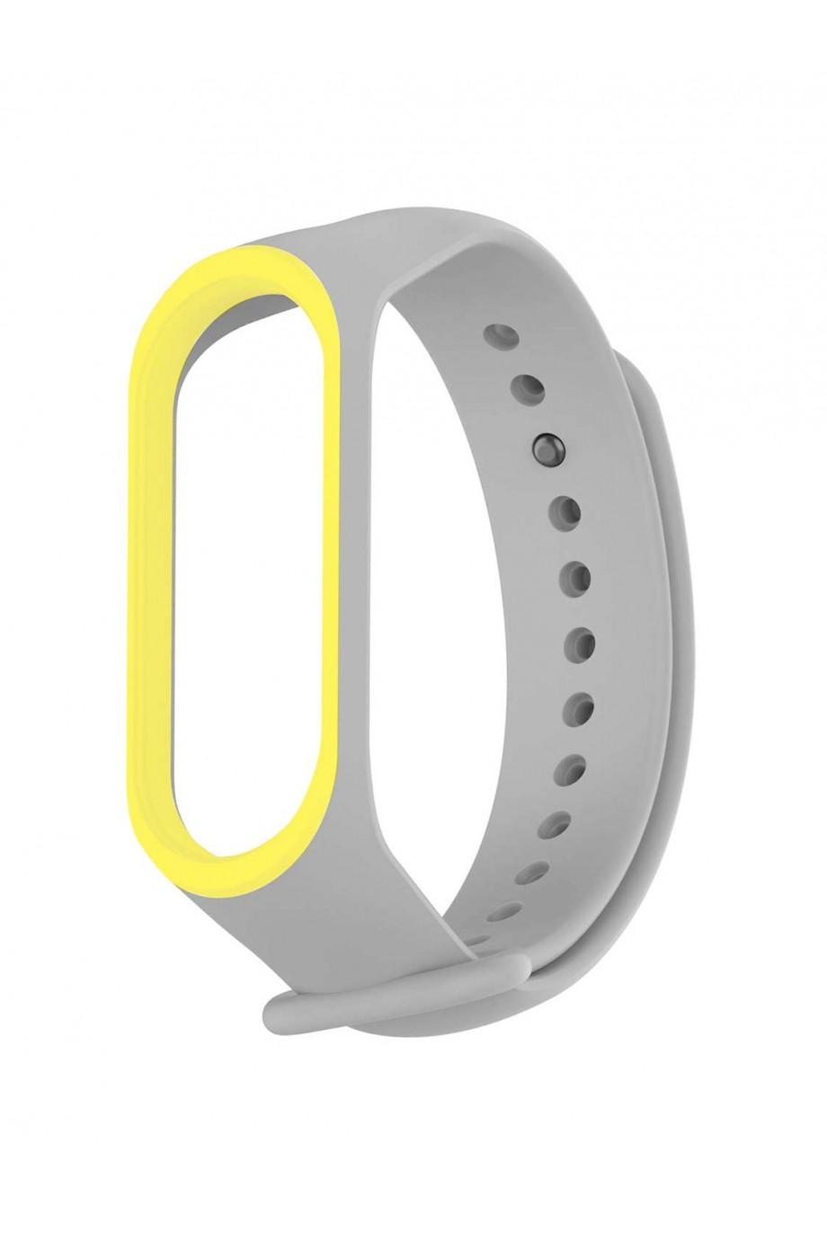 Силиконовый ремешок для Xiaomi Mi Band 3, серый с желтой окантовкой, mk033