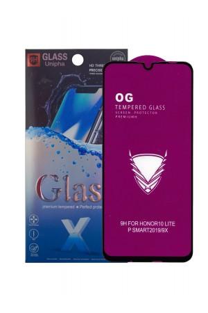 Защитное стекло 5D Glass Unipha для Honor 10 Lite, OG series, черная рамка, полный клей, mk061