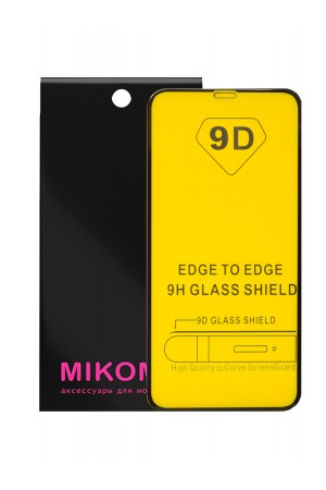 Защитное стекло 9D Mikomo для iPhone 11, черная рамка, полный клей