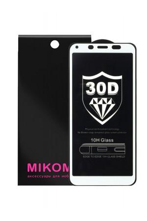 Защитное стекло 30D Mikomo для Xiaomi Redmi 6A, белая рамка, полный клей