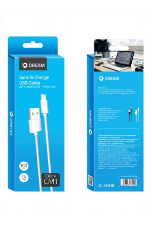 Кабель Dream CM1 USB – Micro USB, белый, 1 м