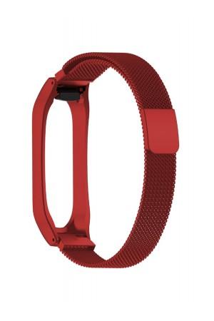 Металлический ремешок для Xiaomi Mi Band 4, красный, mkx041