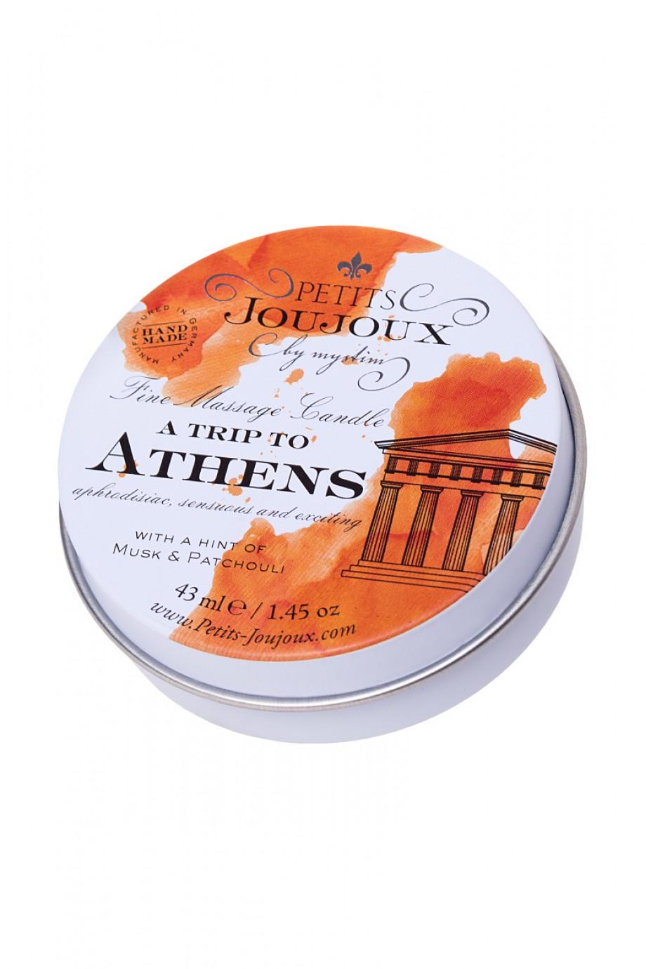 Массажная свеча Petits JouJoux Mini Athens с ароматом мускуса и пачули, 43 мл